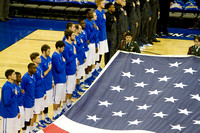 The Creighton Bluejays during the national anthem before a 2013 game against UMKC