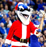 Billy Bluejay dressed as Santa Claus
